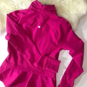 LULULEMON 8 full zip long sleeve pink with ruffle
